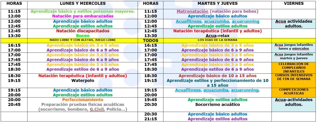 Horario de clases y actividades 2013 2014 de la piscina for Horario piscina alaquas