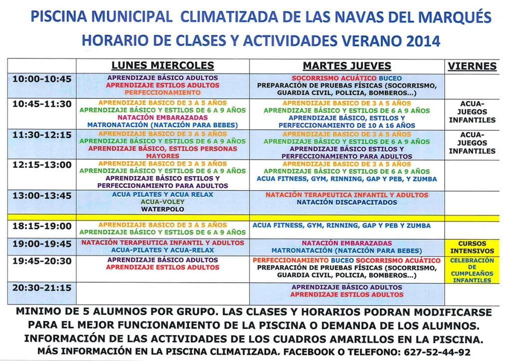 Horarios y clases de la piscina municipal climatizada for Horario piscina alaquas