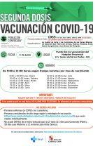 Nuevo llamamiento para vacunaciones de segundas dosis